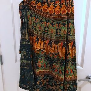 Dresses & Skirts - Authentic Indian Printed Wrap Skirt Cotton OneSize